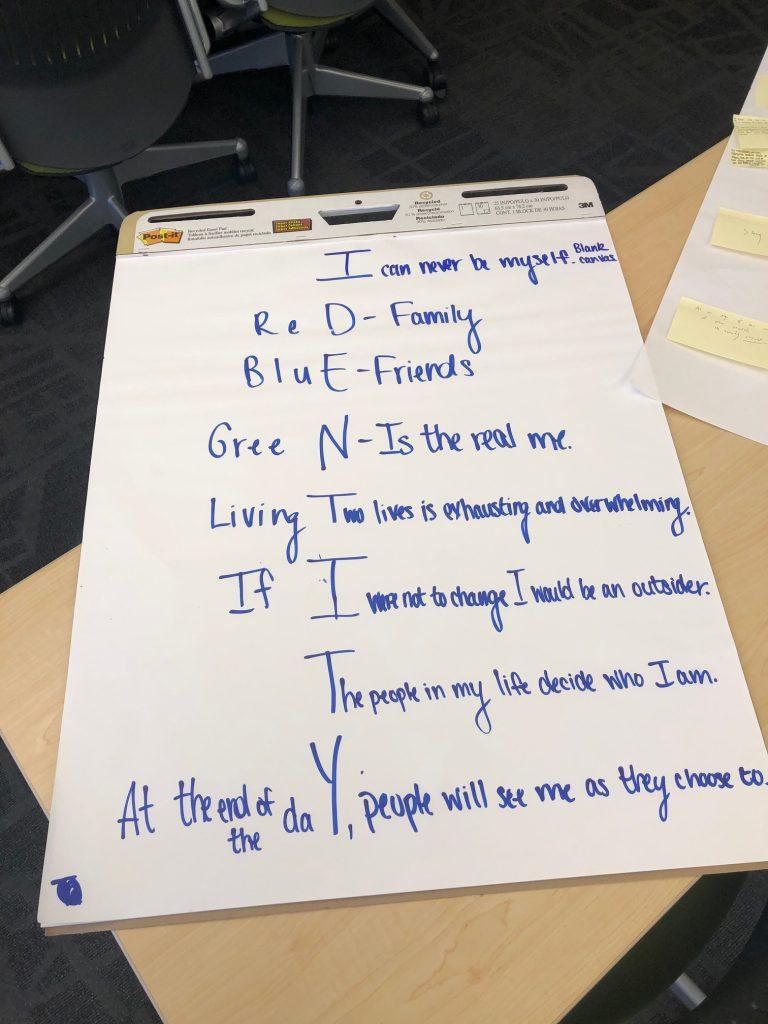 """Identity"" poem on large easel paper"