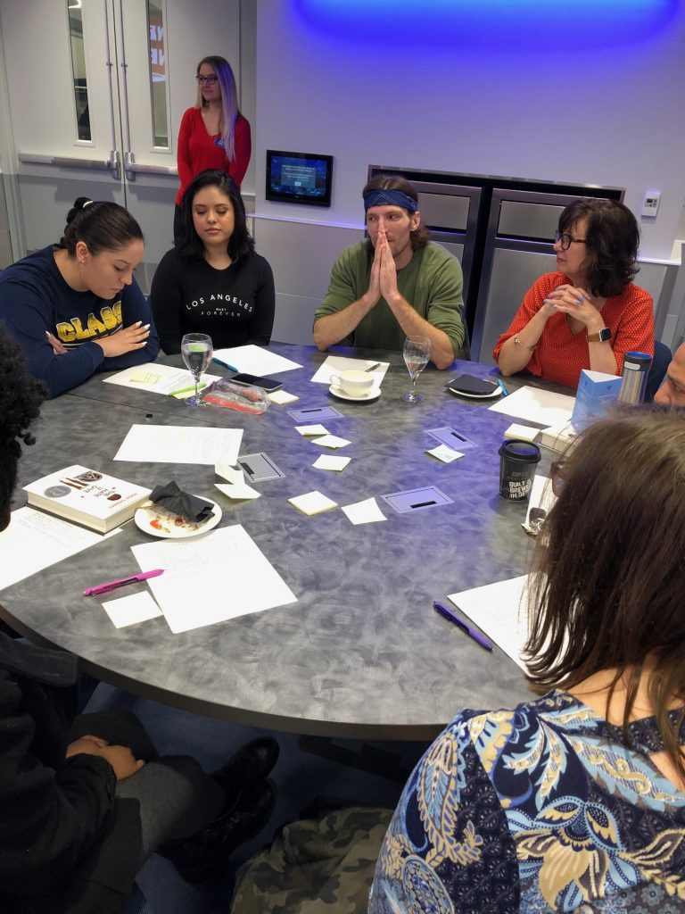 Participants working on their poem