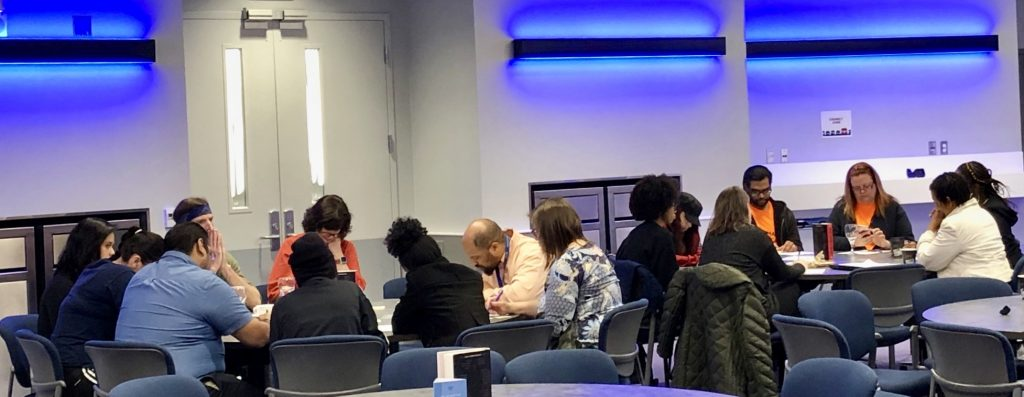 Participants working on the poetry activity